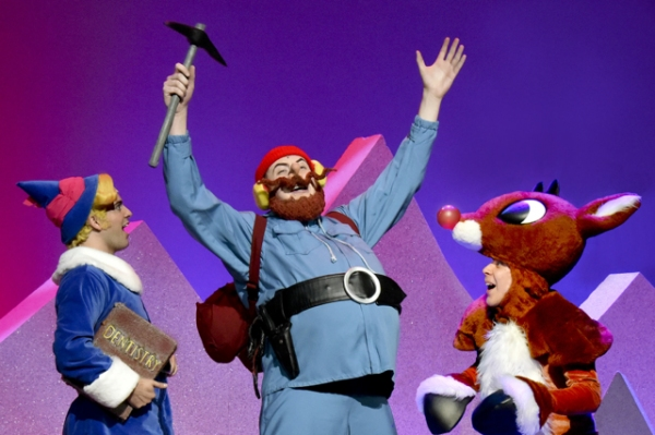 Kyle Montgomery as Hermey, Jeremiah Johnson as Yukon Cornelius, and Leo Thomasian as Rudolph